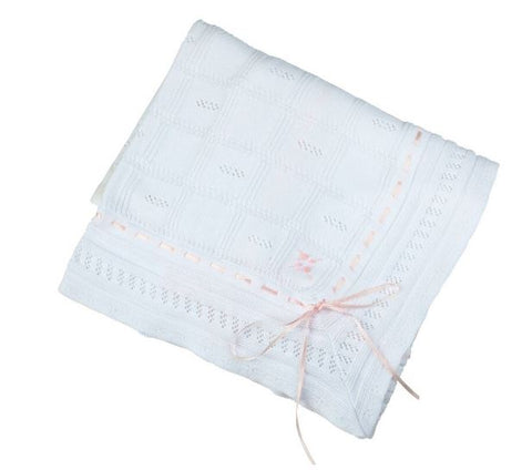 Ribbon Pointelle Knit Blanket White/Pink