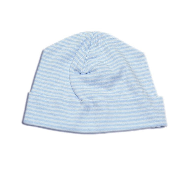 Striped Cotton Hat for Baby Babies Newborn Layette Set Blue