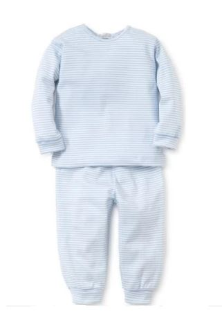 Long Sleeve Stripe Pants Set Blue
