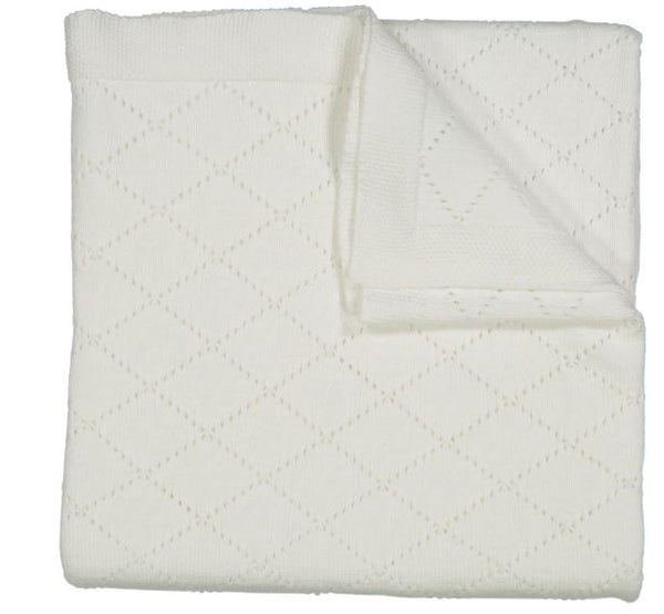 Diamond Pointelle Blanket White