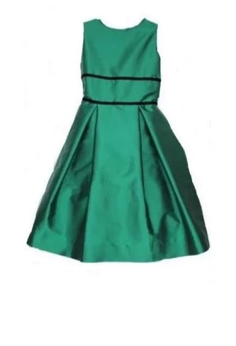Box Pleat Dress Emerald Green