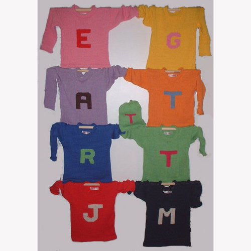 Cotton Personalized Sweater with Letter Initial Sweater