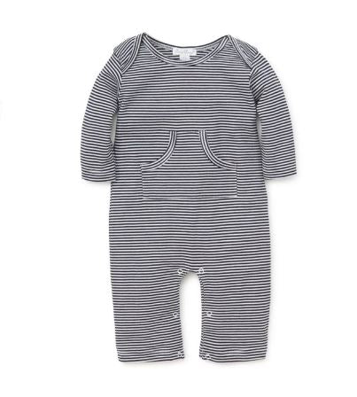 Footless Onesie Navy/ White Stripe