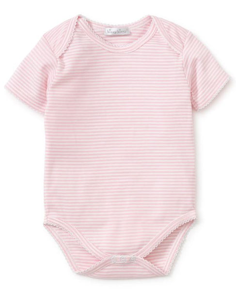Short Sleeve Stripe Body Suit Pink