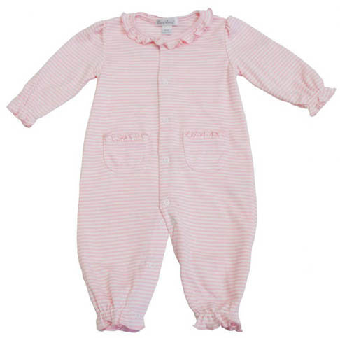 Pink Striped Playsuit Onesie Ruffle Collar