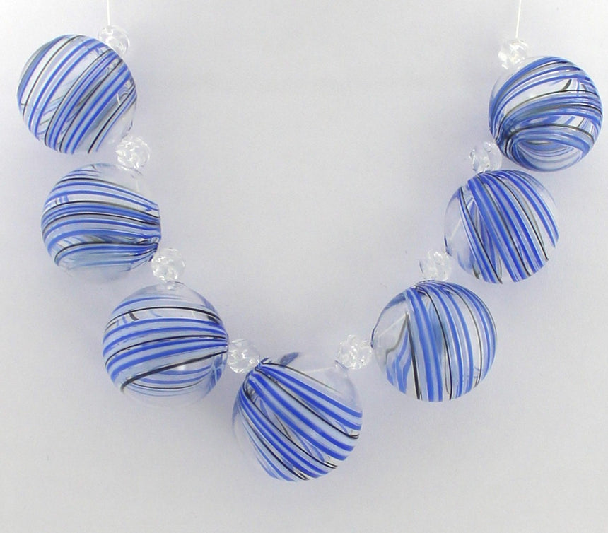 Stripes of Blue and White Ethereal Lampwork Necklace