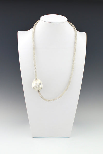 Asymmetrical Pleated Hollow Silver Bead on Handmade Woven Necklace