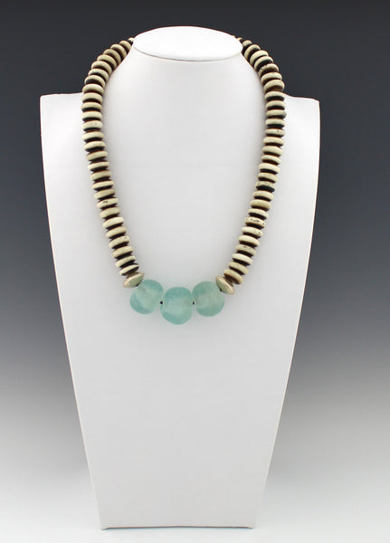Blue Wave Recycled Glass and Bone Mala Disk Necklace