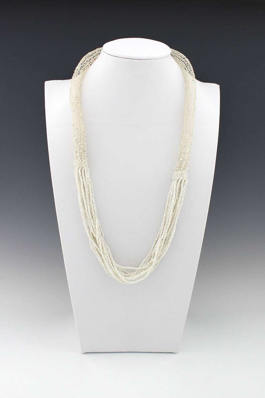 Hollow Crochet Silver Wire tube interspersed with white faceted bead necklace