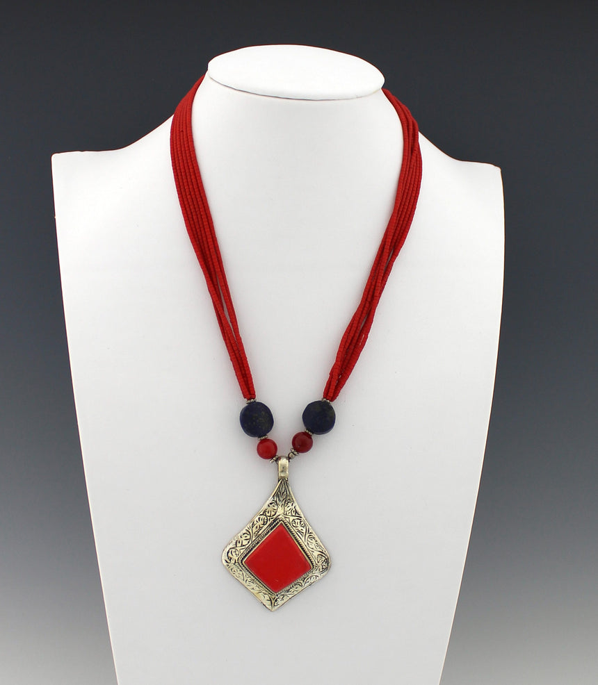 Vintage Coral and Lapis Lazuli Necklace