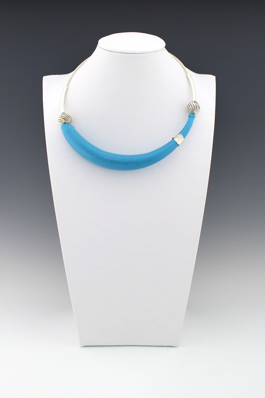 Lagoon Blue Hollow Banana Bead necklace