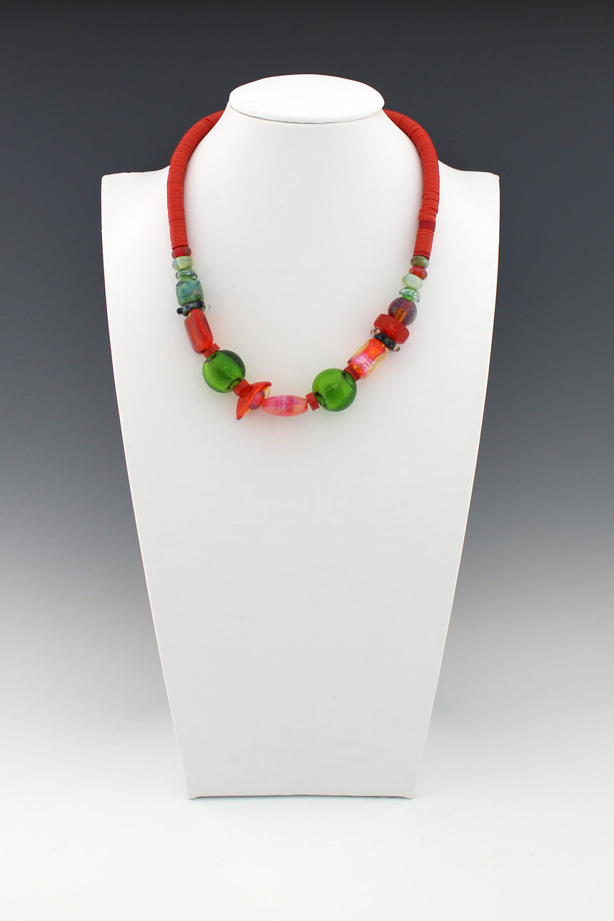 Coral and Green Lampwork Beads with Vintage Red Vinyl Bead Necklace, Glass Beach Necklace,  Tropical Color Necklace