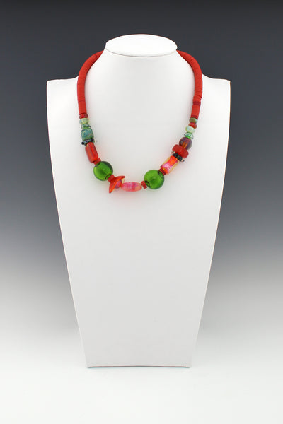 Coral and Green Lampwork Beads with Vintage Red Vinyl Bead Necklace