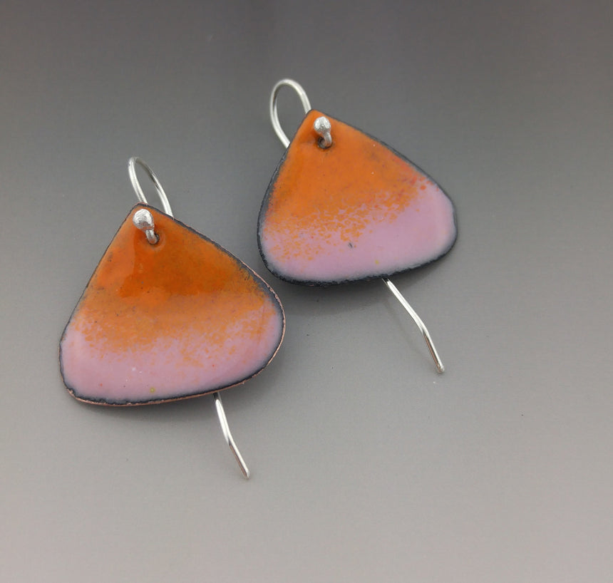 Orange and Pink Enamel Earrings; Sterling Silver and Enamel Earrings; Orange & Pink Earrings