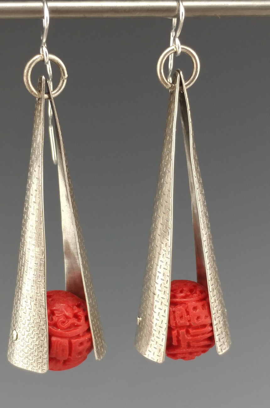 Cinnabar Bead and Silver Dangle Earring Red and Silver Earrings; Kinetic Earrings; Zig Zag Earwire; Chinese Red and Sterling Silver
