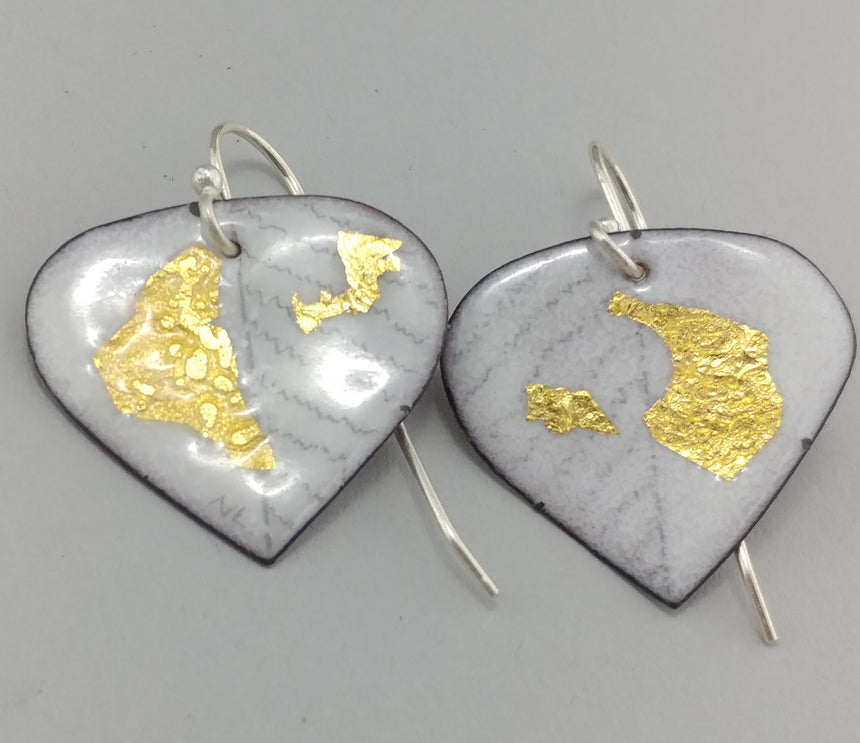 White and Gold Enamel Earrings; Sterling Silver and Enamel Earrings; White with Gold Earrings
