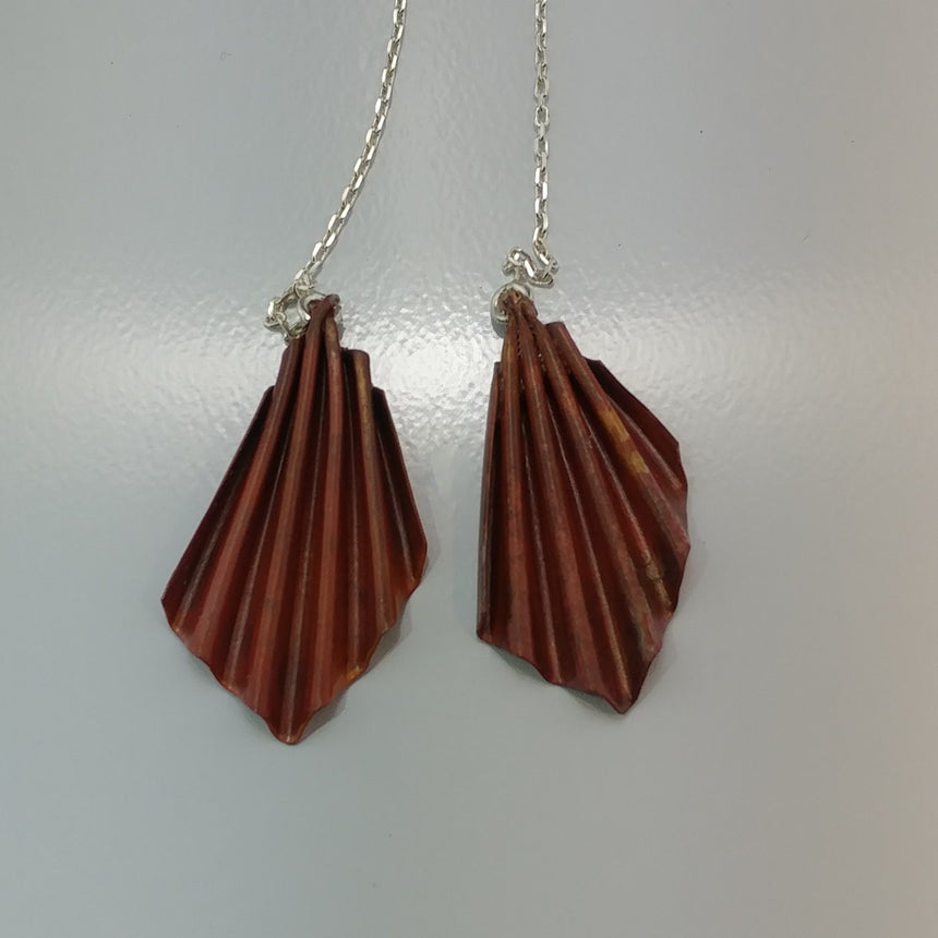 Pleated Copper Earrings on Sterling Ear Chains, Fold Form Copper Earrings,  Threader Earrings, Copper Earrings