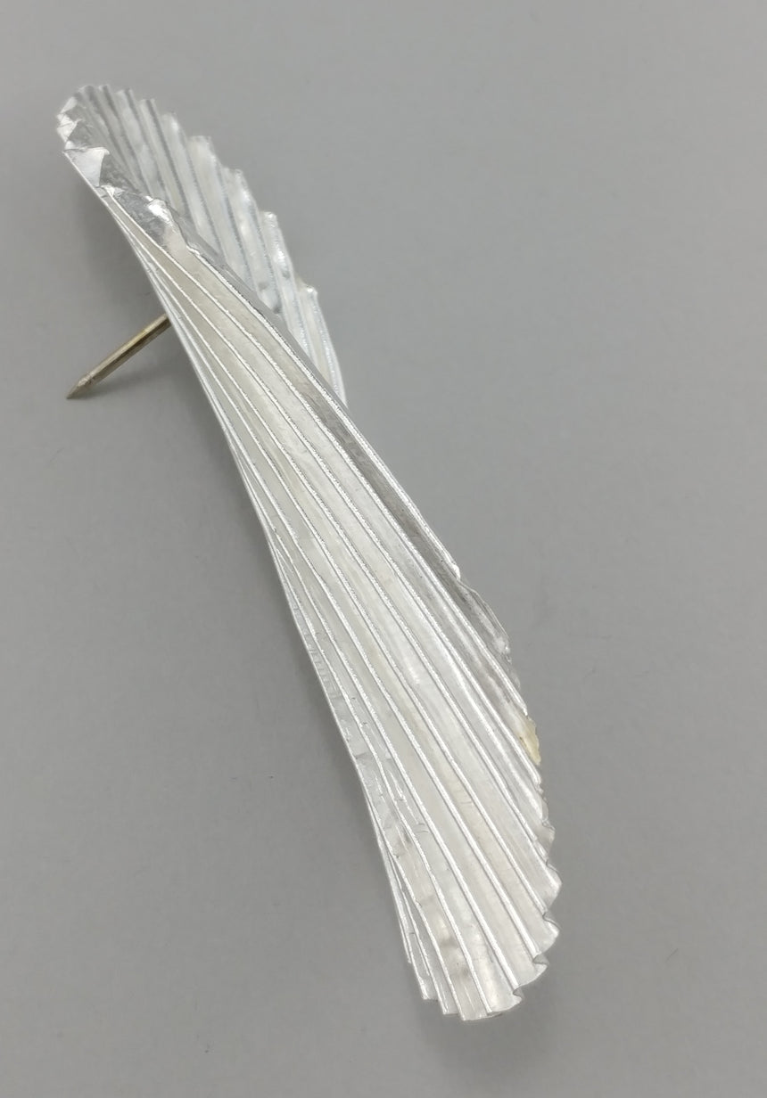 Ruffled Silk Fold Formed Corrugated Wavy Pin Brooch, Statement Brooch, Fine Silver, Looks like a Chip Brooch