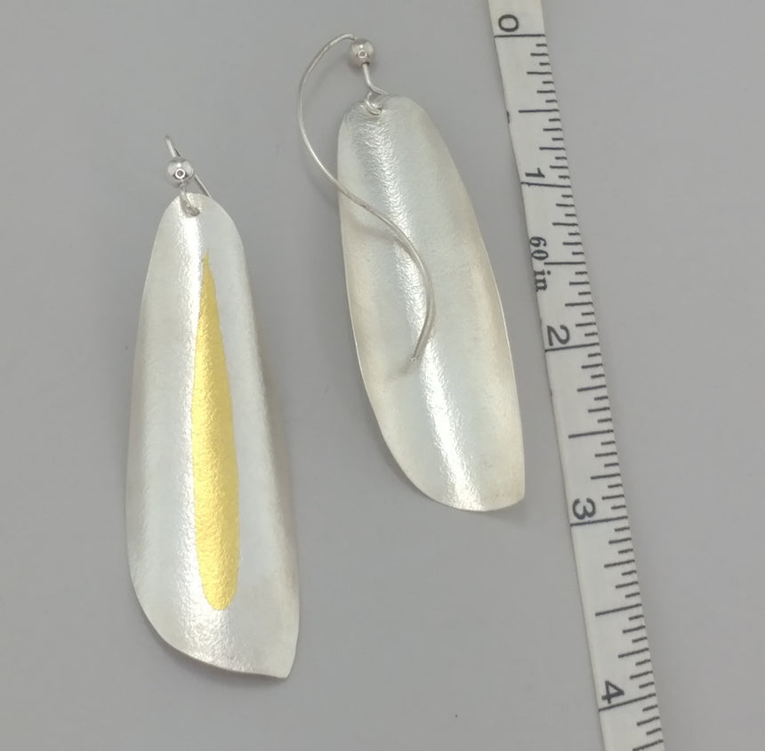 Winged Silver Earrings with Gold Keum Boo, Large Lightweight Silver and Gold Earrings,  Kinetic Earrings, Handmade and Unique Earrings