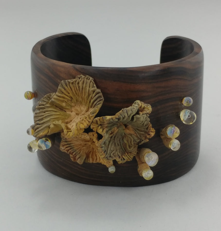 Wooden Cuff with Handcarved Bronze and Glass Sea Urchins, Bronze Metal Clay, Unique Cuff, One of a Kind Gift