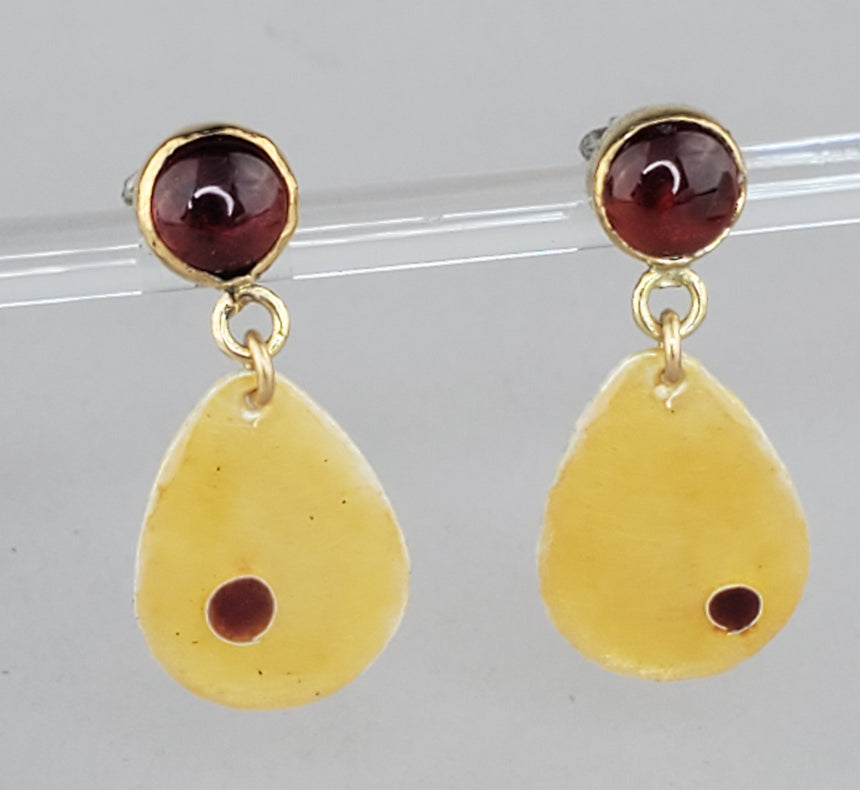 Gold colored Enamel on fine silver tear drops attached to gold bezel set Carnelian studs.