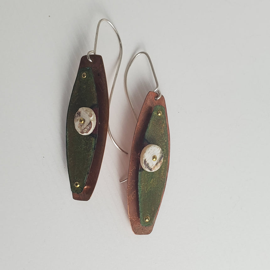 Safari Chic green and ostrich egg bead earrings, Prisma color earrings, Khaki and copper earrings, Dimensional earrings.