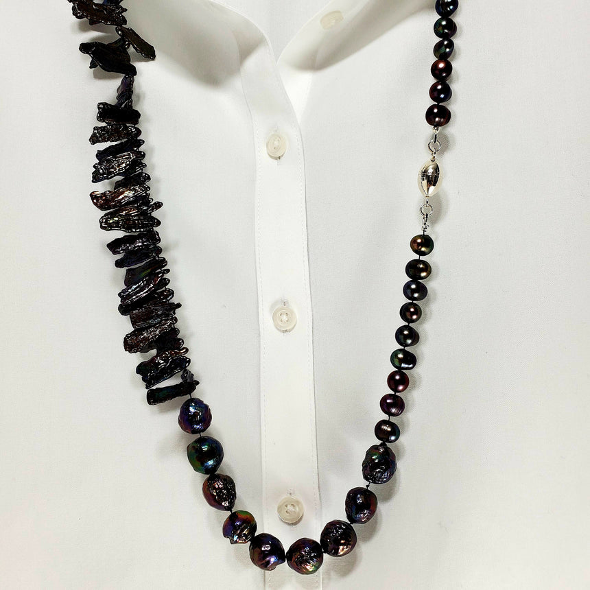 Long, Dark, Luscious Pearls,  Peacock Colored Pearls, Freshwater Pearls, Pearl Wrap Necklace