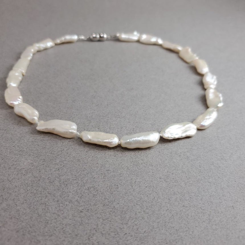 White Biwa Stick Freshwater Pearl Necklace, Hand knotted Natural Pearls, Wedding Pearl Necklace.
