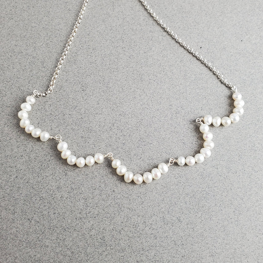 Delicate Bridal Necklace, Freshwater Pearl Swag Necklace, Handmade Sterling Necklace, Bridesmaid Necklace