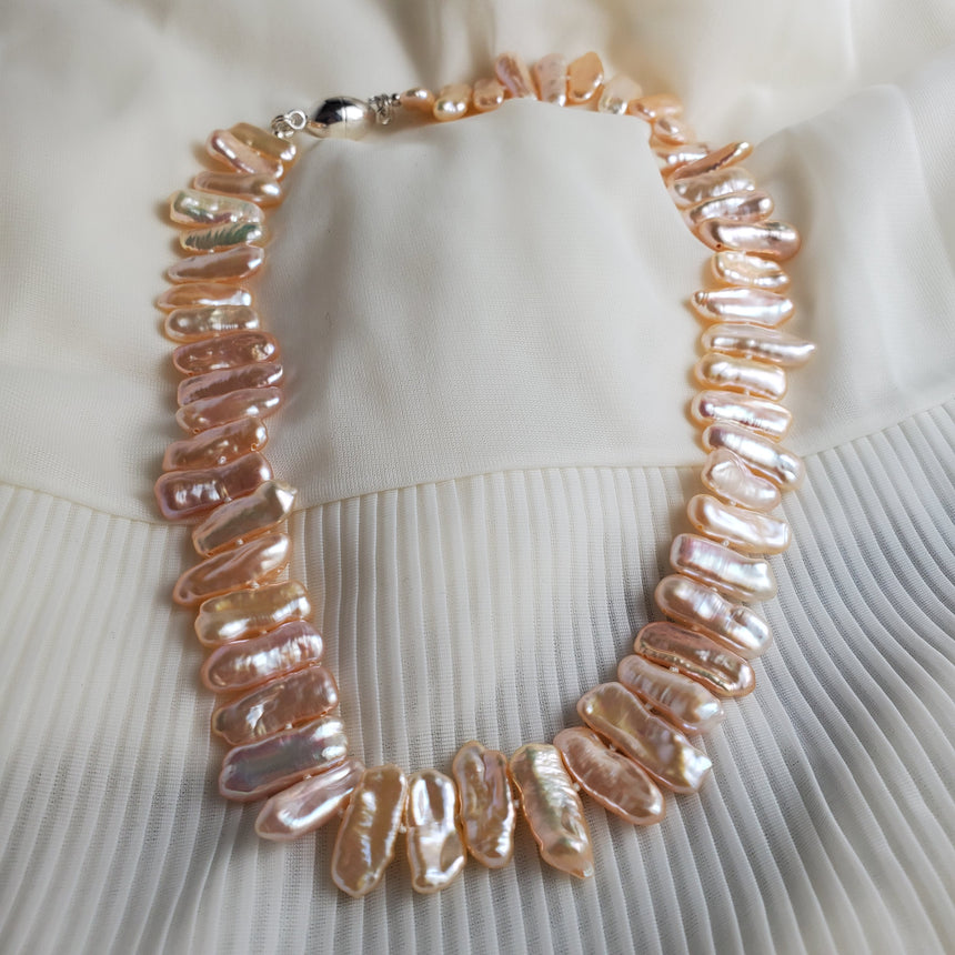 High-luster Peachy Pink Stick Biwa Freshwater Pearl Necklace, Hand knotted Natural Pearls, Wedding Pearl Necklace.