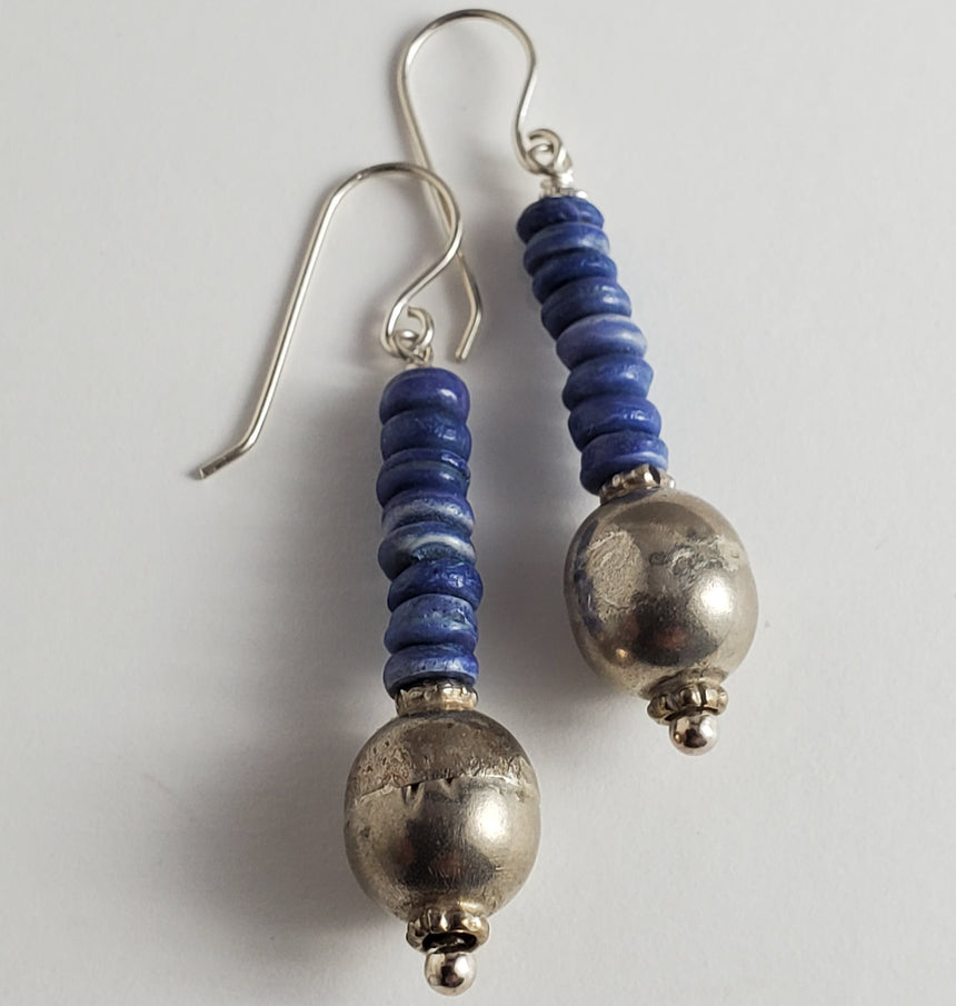 Boho Blue and Silver Bead Earrings, Indian Tribal Style, Vintage Bead Earrings, Kinetic Earrings
