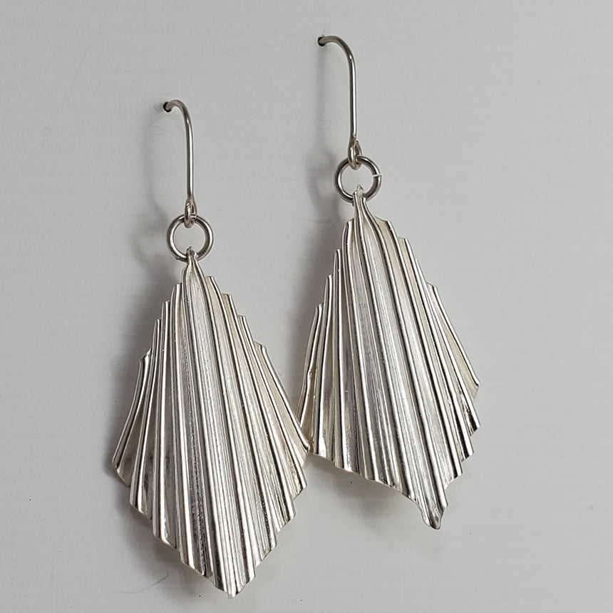 Silver Ruffled Kite Earrings, Micro Fold Formed Kinetic Earrings, Corrugated Silver Earrings