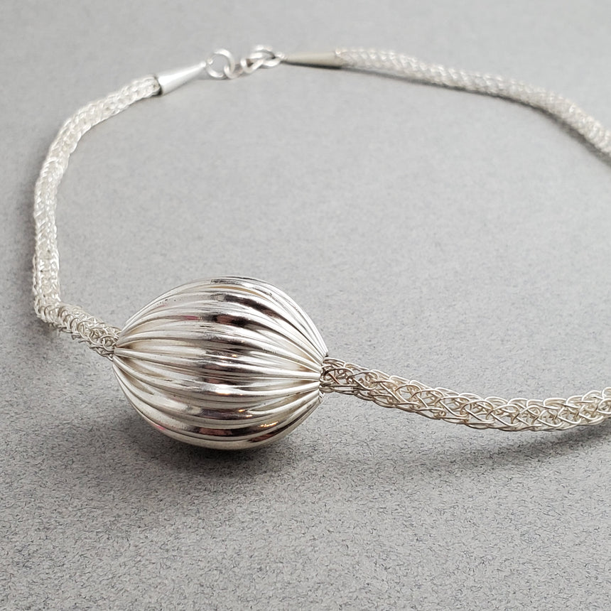 Asymmetrical Pleated Hollow Silver Bead on Handmade Woven Necklace, Fold Formed Silver Necklace, Viking Knit Chain and Fine Silver Ball
