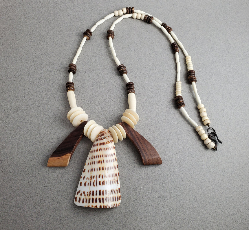 Islands Necklace - Wood; Shell; Bones and Coconut, Tropical Necklace, Beach Necklace, Tribal Necklace