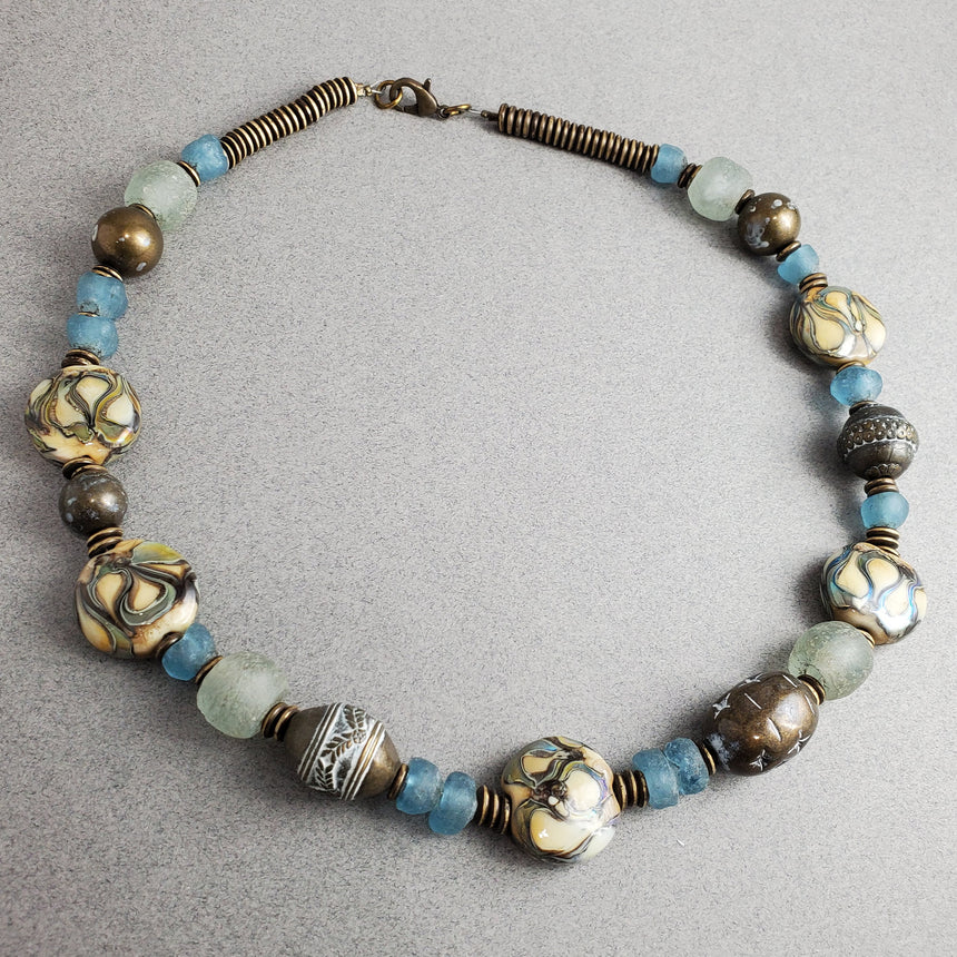 Shore Line - Ocean Blues, Sandy Shores and Rustic brass necklace, Beach necklace,