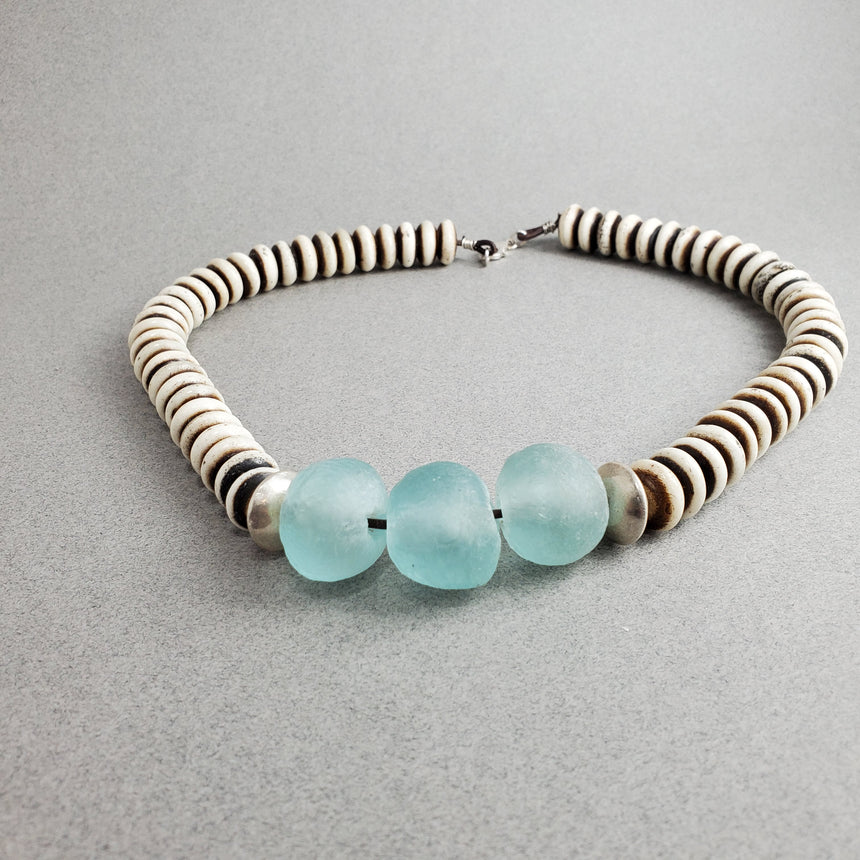 Blue Wave Recycled Glass and Bone Mala Disk Necklace, Icy Blue and Earthy Ivory Bead Necklace,  African Style Necklace