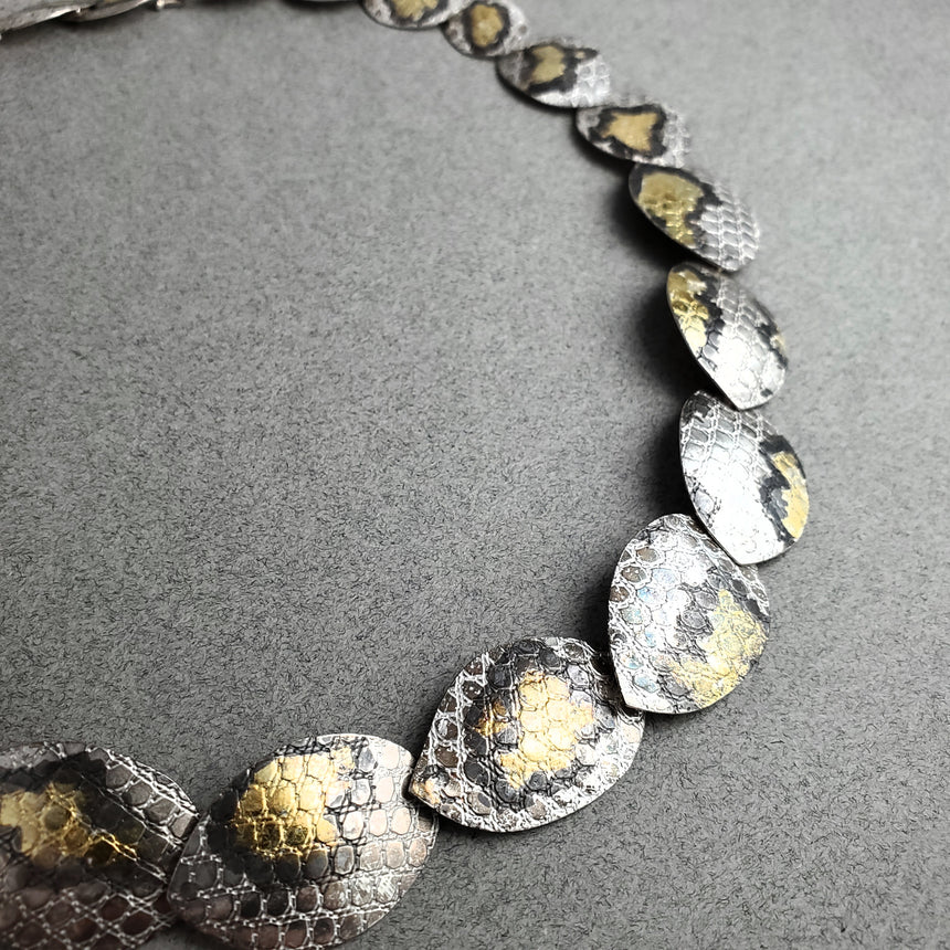 Silver and Gold Snakeskin Necklace, Silver and Gold Keum Boo Textured Necklace, Statement Animal Print Necklace