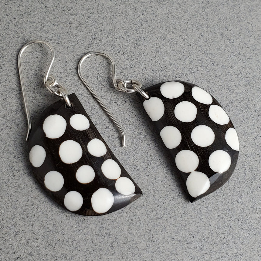 Brown With White Spot Earrings,  Ebony and Ivory Bone Earrings, Dotty Earrings, Tribal Style Earrings