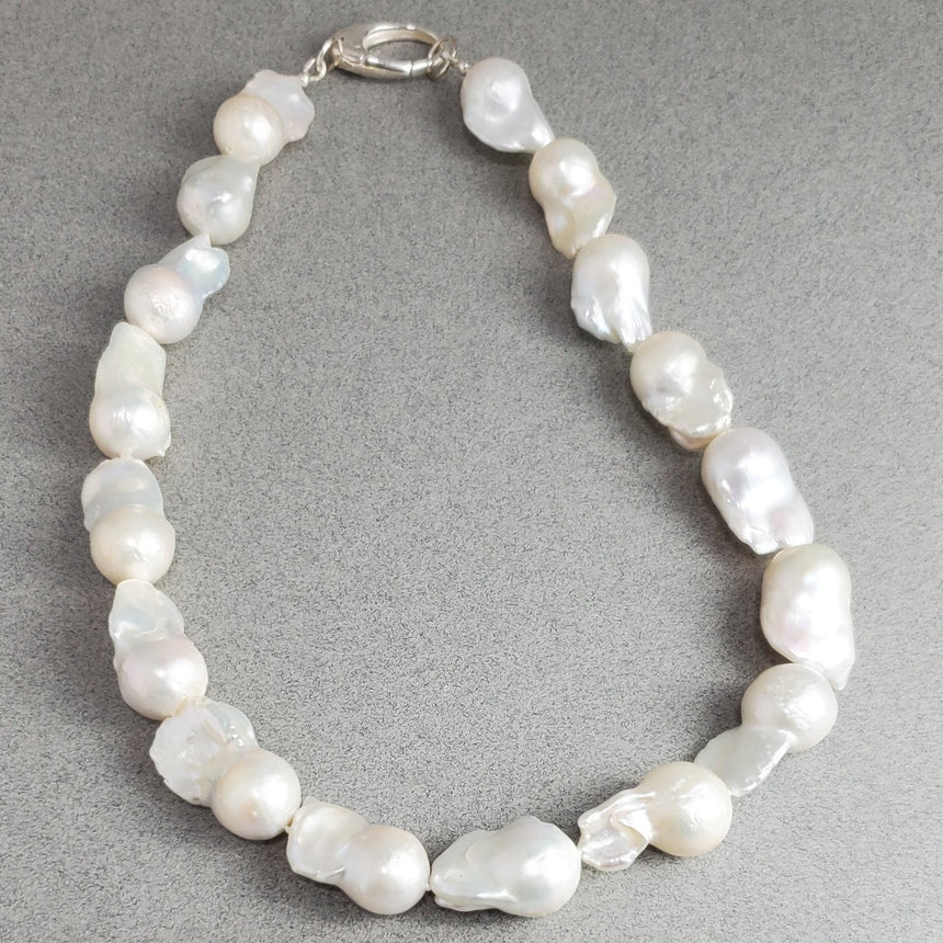 Huge Baroque Freshwater Pearl Necklace, Hand Knotted Natural Pearls, Wedding Pearl Necklace, Large White Pearl Necklace