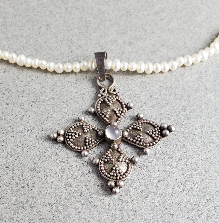 Vintage Cross on a Freshwater Pearl Necklace, Seed Pearls, Silver Granulation Cross with Laboradite.tatement Pearl Necklace