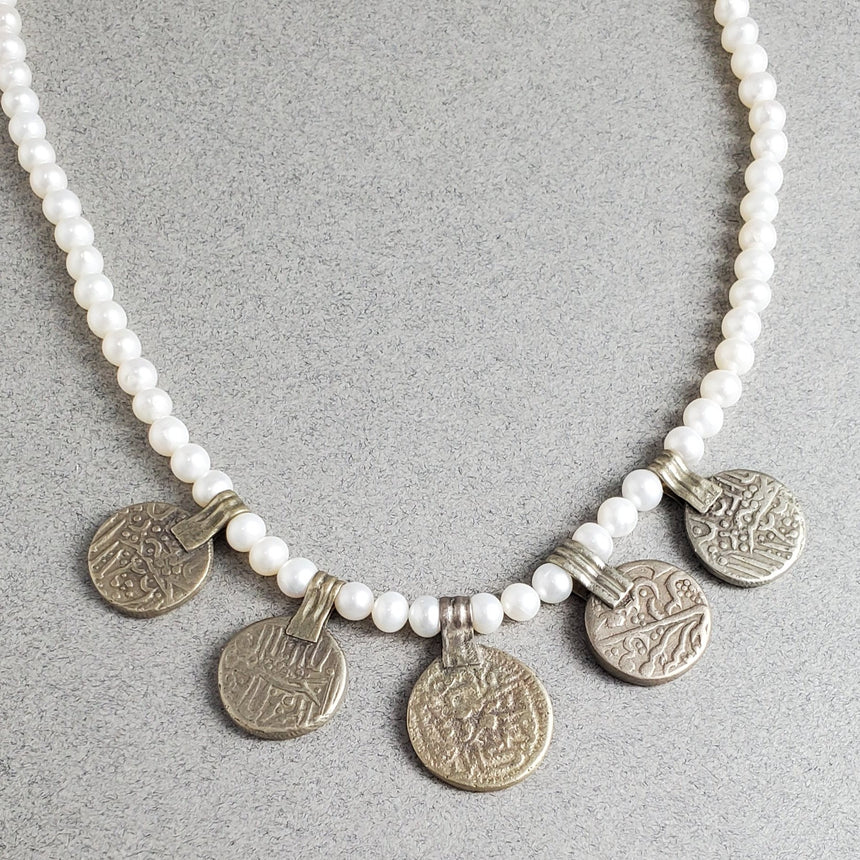 Vintage Arabic Coin Drops in Sterling Silver on a Freshwater Round Pearl Necklace, Layering Necklace, Boho Necklace