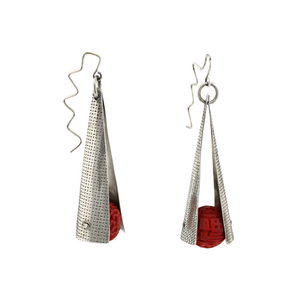 Cinnabar Bead and Silver Dangle Earring