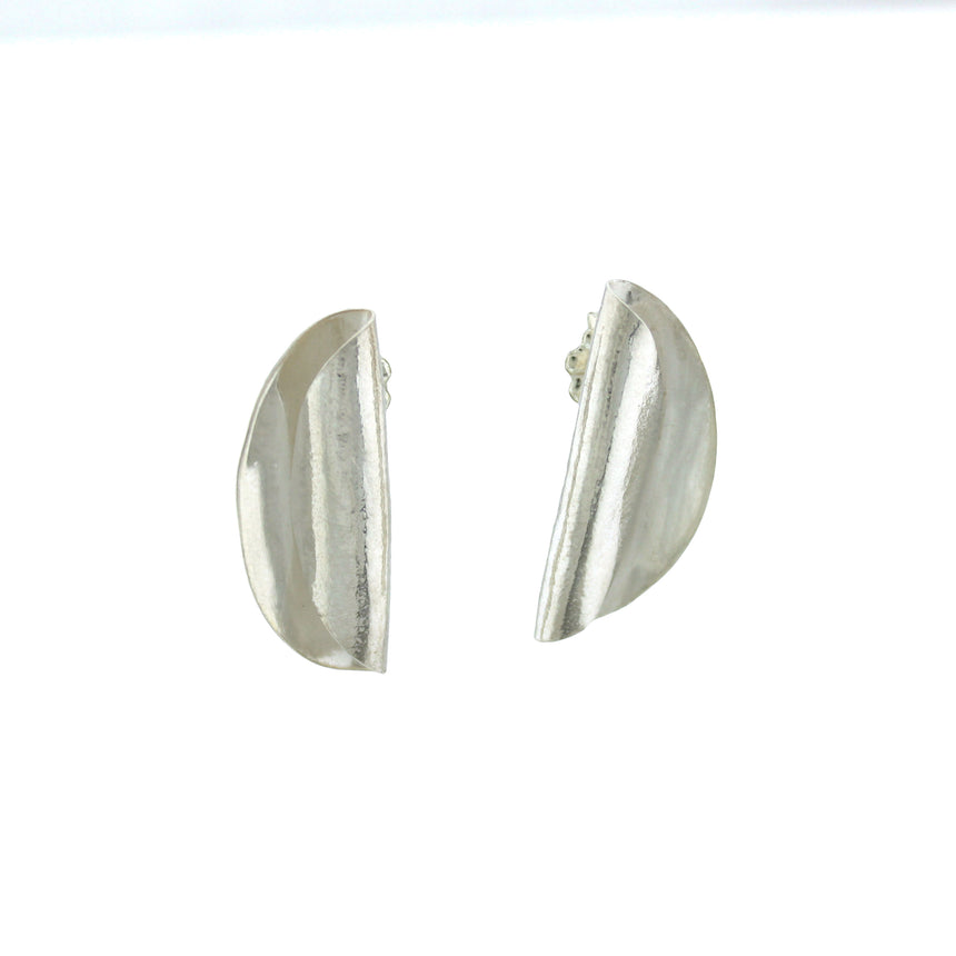 Roll Silver Earring Studs, Half Circle Sterling Silver Studs,