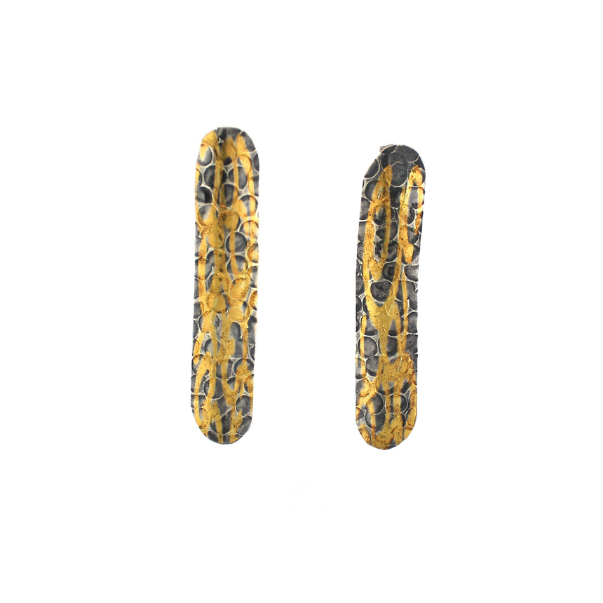 Swirls of Gold and Silver Statement Earring Studs, Fused Gold on Argentium Silver Earring Studs, Black Patina and Gold Earrings