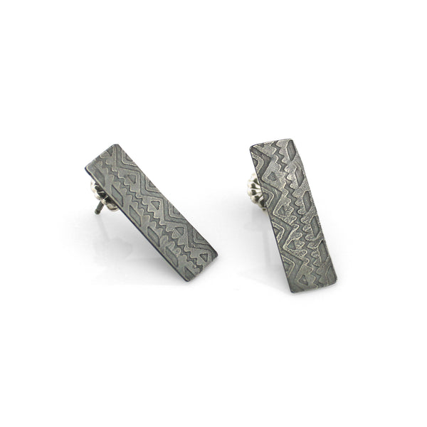 Graphic Silver Post Earrings