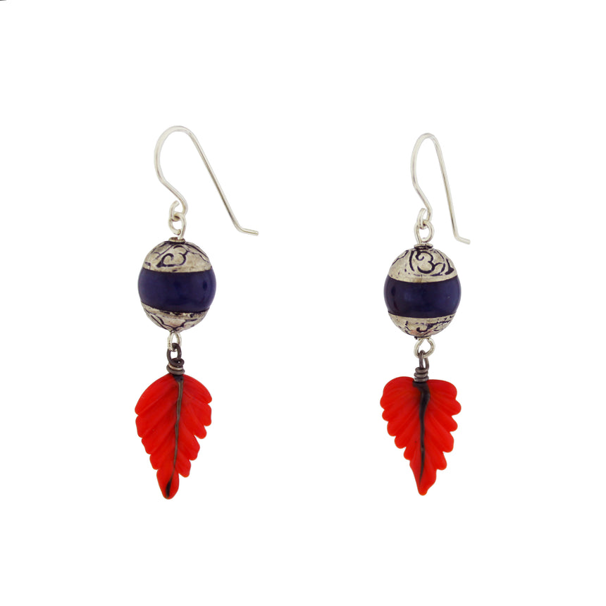 Lapis Lazuli  and Coral Lampwork Earrings; Blue, Silver and Coral Earrings; Tropical earrings; Kinetic Earrings