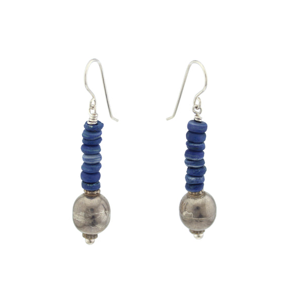 Boho Blue and Silver Bead Earrings