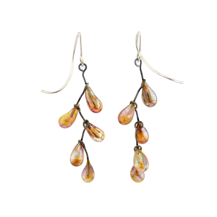 Golden Raindrop Lampwork Silver Earrings, Golden Glass Kinetic Earrings, Golden Drop Earrings