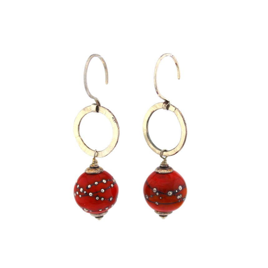 Red Lampwork and Silver Dangle Earrings, Hot Red Earrings, Kinetic Earrings, Red and Silver Earrings