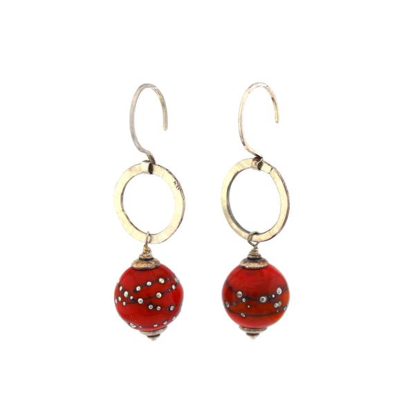 Red Lampwork and Silver Dangle Earrings